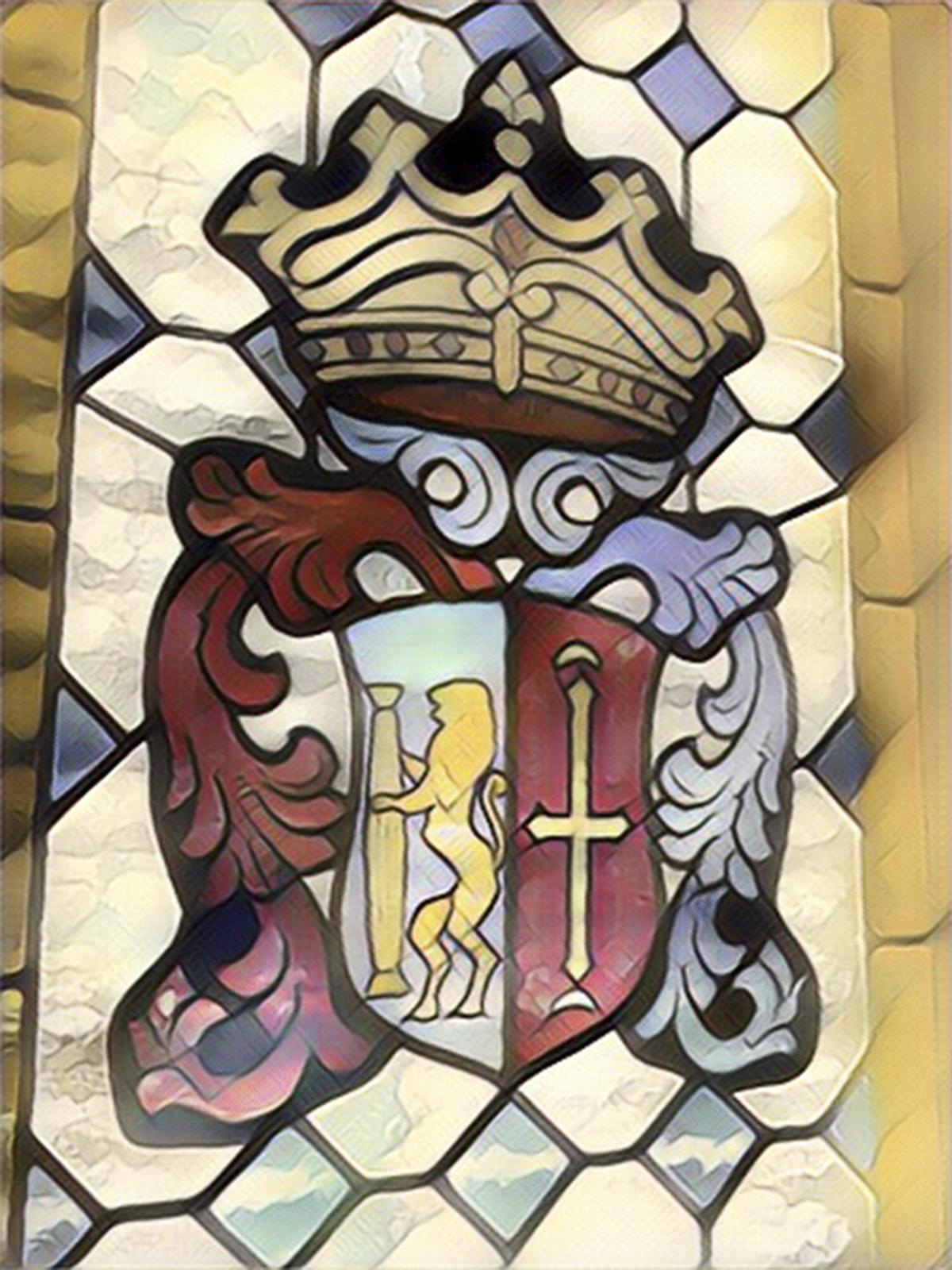 Escudo de Guareña en una de las vidrieras de la ventana